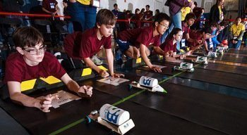 Team cars leave the start line during the electric car competition portion of the 2016 National Science Bowl competition in Washington, D.C., on May 1, 2016. (Jack Dempsey/U.S. Department of Energy, Office of Science)