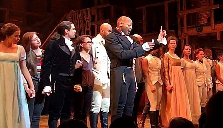 """The cast of the hit play """"Hamilton"""" publicly confronted future VP Mike Pence on Saturday, Nov. 19, appealing to him and Donald Trump, from the stage, to """"uphold our American values"""" and """"work on behalf of all of us."""""""