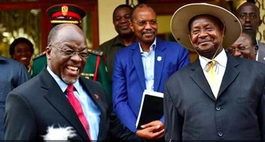 Tanzanian President John Magufuli (left) and Ugandan President Yoweri Museveni /Courtesy of YKM/Facebook via mgafrica.com)