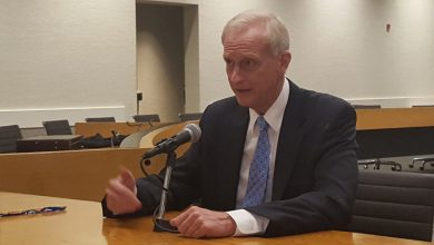 D.C. Council member and Metro board chairman Jack Evans speaks to reporters after Metro General Manager Paul J. Wiedefeld presented a fiscal 2018 budget proposal to the board's finance committee at the agency's headquarters in northwest D.C. on Nov. 3. /Photo by William J. Ford