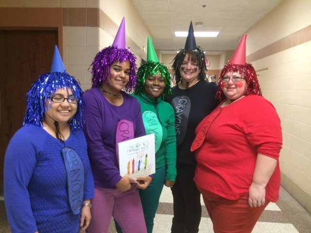 "During the recent storybook character parade at Bradbury Heights Elementary School in Capitol Heights, teachers chose to be crayons from Drew Dawalt's ""The Day the Crayon Quit."" /Courtesy of PGCPS"