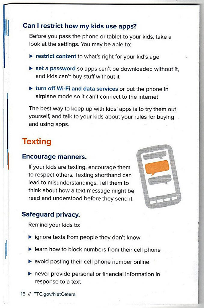"Some advice listed in the ""Net Cetera"" booklet from the Federal Trade Commission on communicating with children about being online /Courtesy of FTC"
