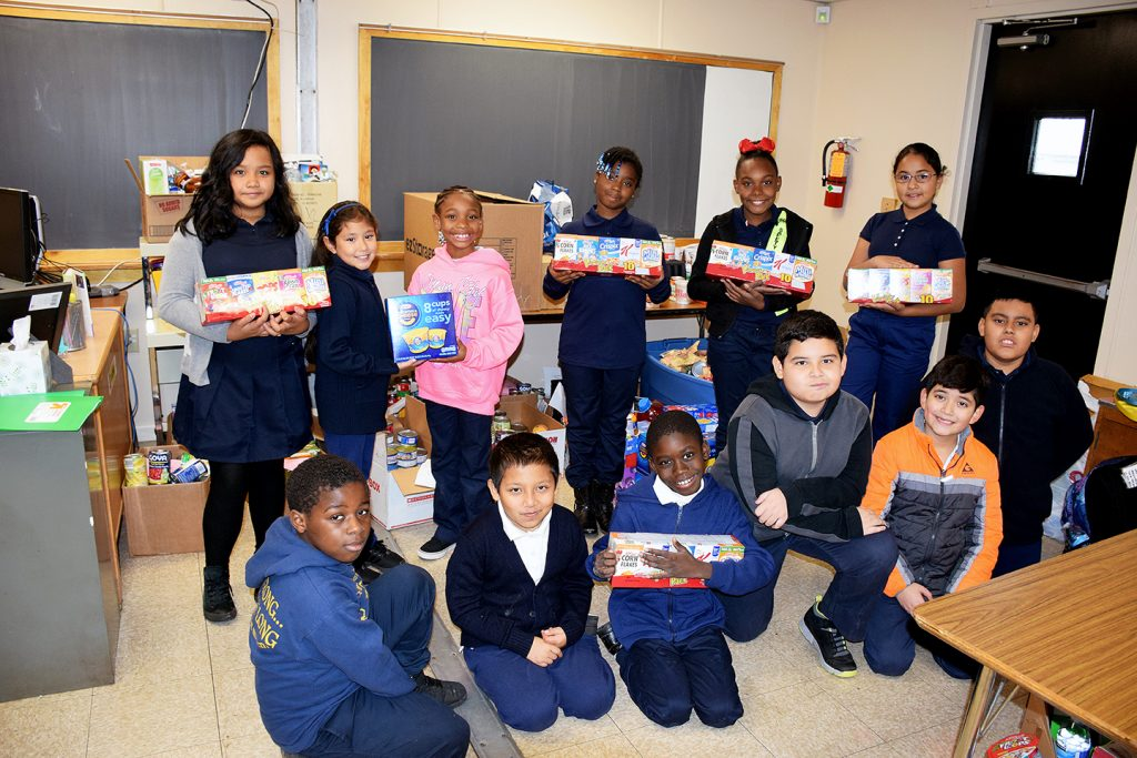 "The Gaywood Elementary School Student Association host the ""Kids Helping Kids"" food drive. /Courtesy of PGCPS"