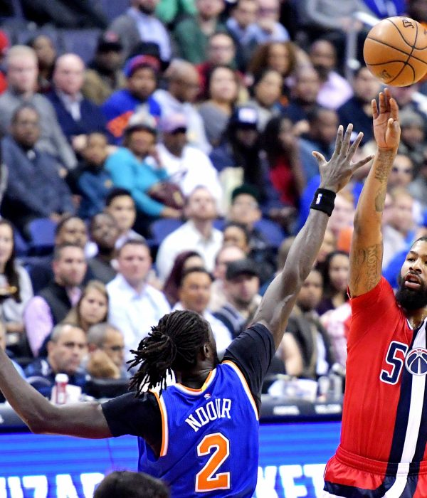 Washington Wizards power forward Markieff Morris shoots over New York Knicks small forward Maurice Daly Ndour during the first quarter of the Wizards' 119-112 win at Verizon Center in northwest D.C. on Thursday, Nov. 17. /Photo by John E. De Freitas