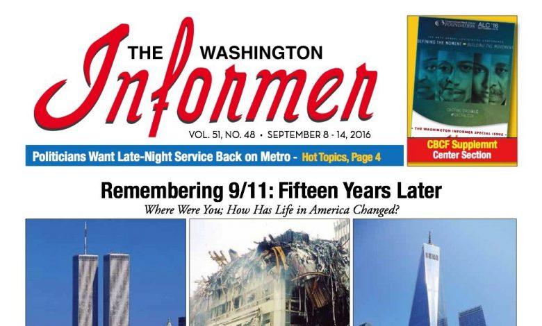 Washington Informer, September 8, 2016