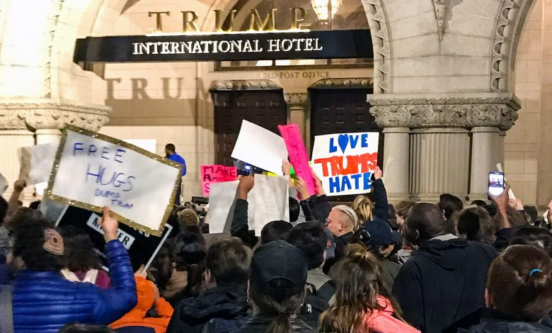 Protests have erupted throughout the country following Donald Trump's election win, including in Washington, D.C., outside of Trump International Hotel, just blocks from the White House on Pennsylvania Avenue. /Photo by Shevry Lassiter