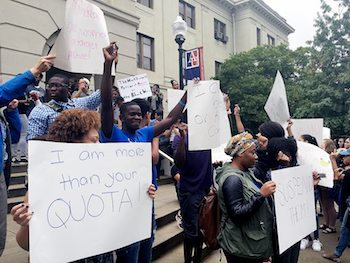Students at American University have lodged a series of protests following several racial incidents that have targeted blacks. (Courtesy of WTOP)