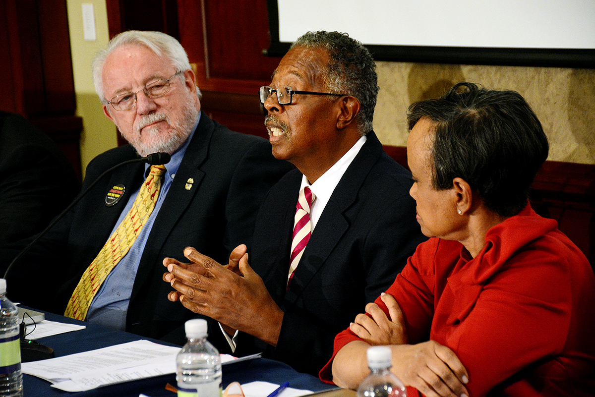 Dr. George W. Woods Jr. speaks at the Gun Violence and Trauma Congressional Briefing in northwest D.C. on Nov. 1. Photo by Roy Lewis