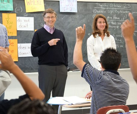 Bill and Melinda Gates make an appearance at Lee High School in Houston on Oct. 23, 2008.
