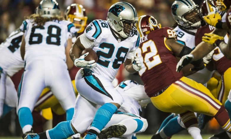 Carolina Panthers running back Jonathan Stewart ran for 132 yards in the Panthers' 26-15 win over the Washington Redskins at FedEx Field in Landover, Maryland, on Dec. 20.