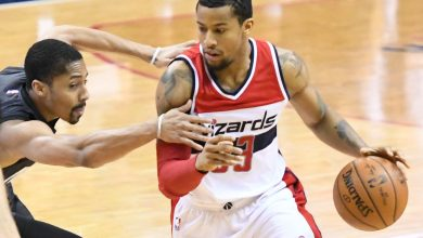 Washington Wizards guard Trey Burke drives to the basket during the third quarter of the team's 118-95 victory over the Brooklyn Nets at Verizon Center in northwest D.C. on Dec. 30. (John De Freitas/The Washington Informer)