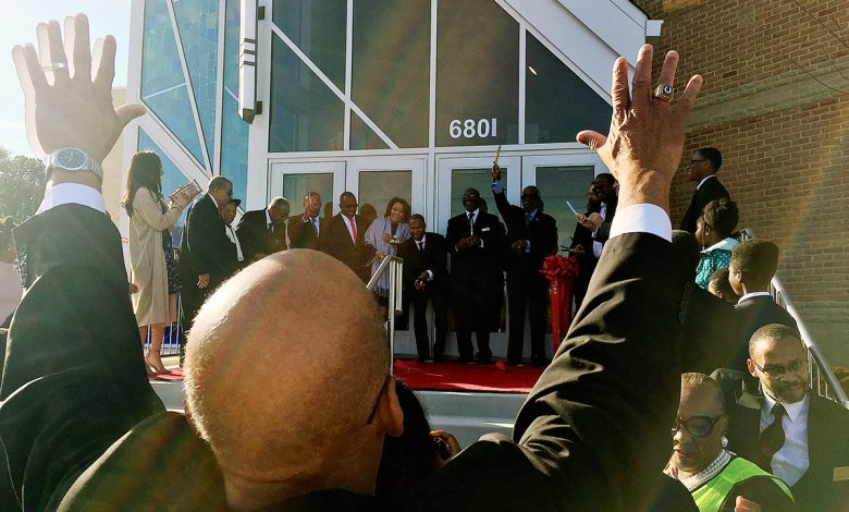 The congregation at First Baptist Church of Highland Park celebrates its new home in Landover, Maryland, during a ceremony on Oct. 29. /Photo by Hamil R. Harris