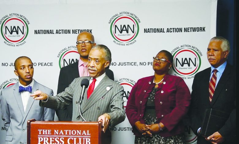 Rev. Al Sharpton speaks at the National Press Club in Washington, D.C.