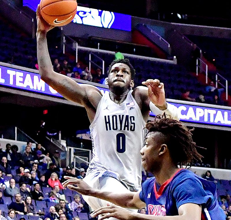 Georgetown Hoyas guard L.J. Peak goes to the basket in the second half of the Hoyas' 85-72 win over the Howard Bison at Verizon Center in Northwest on Sunday, Nov. 27. /Photo by John E. De Freitas