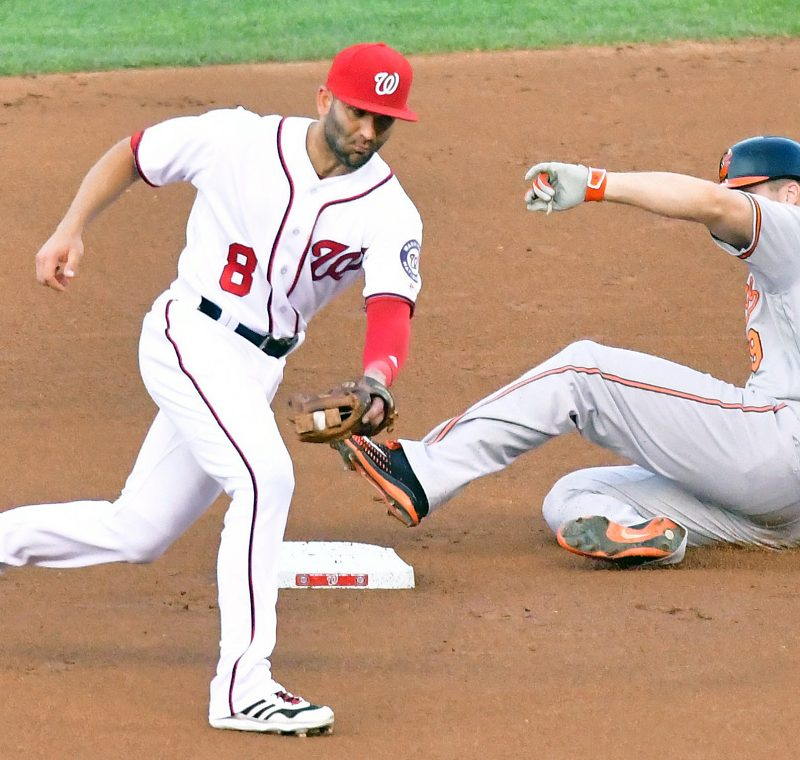 Baltimore Orioles first baseman Chris Davis slides into second base after doubling in the first inning of the Orioles' 10-8 win over the Washington Nationals on Wednesday, Aug. 24 at Nationals Park in southeast D.C. /Photo by John E. De Freitas