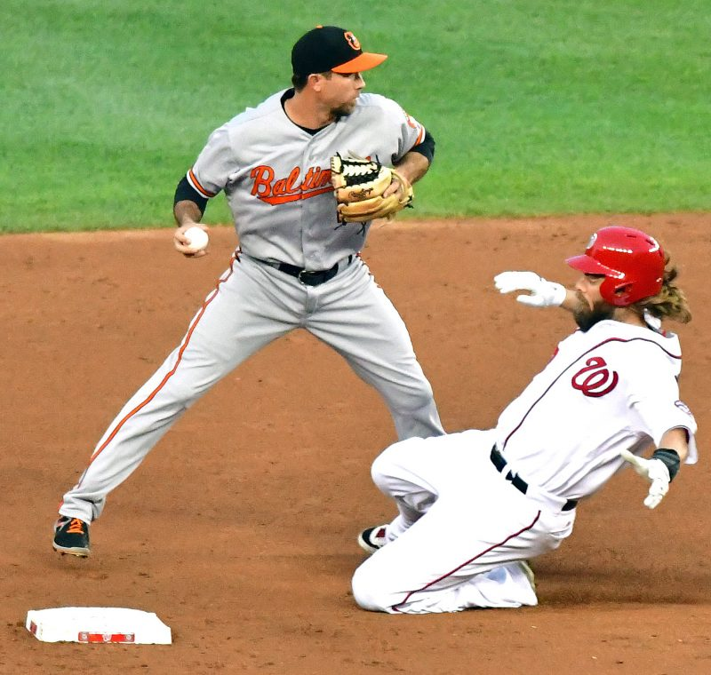 Washington Nationals left fielder Jayson Werth is forced out at second base in a double-play attempt during the Baltimore Orioles' 10-8 win over the Washington Nationals on Wednesday, Aug. 24 at Nationals Park in southeast D.C. /Photo by John E. De Freitas