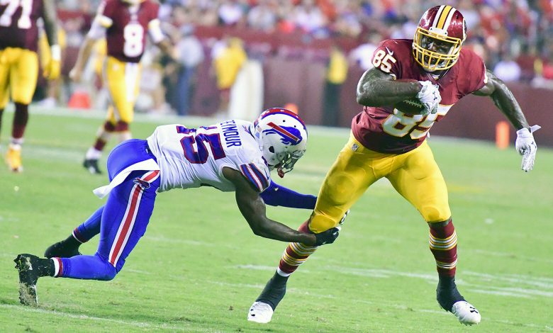 Buffalo Bills running back Jonathan Williams outruns Washington Redskins linebacker Willie Jefferson en route to a 37-yard touchdown in the third quarter of the Redskins' 21-16 preseason win at FedEx Field in Landover, Maryland, on Friday, Aug. 26. /Photo by John E. De Freitas