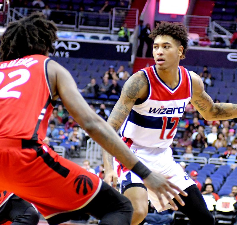 Washington Wizards forward Kelly Oubre Jr. takes on Toronto Raptors center Lucas Nogueira during the Wizards' 119-82 home win in both teams' final preseason game on Friday, Oct. 21 at the Verizon Center in northwest D.C. /Photo by John E. De Freitas
