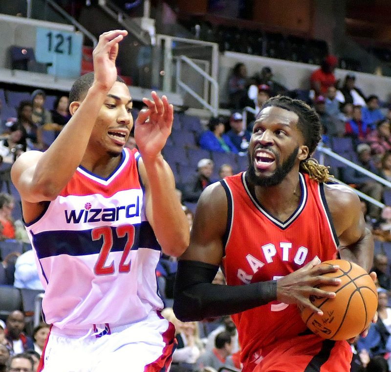 Toronto Raptors forward DeMarre Carroll drives against Washington Wizards forward Otto Porter Jr. during the Wizards' 119-82 home win in both teams' final preseason game on Friday, Oct. 21 at the Verizon Center in northwest D.C. /Photo by John E. De Freitas