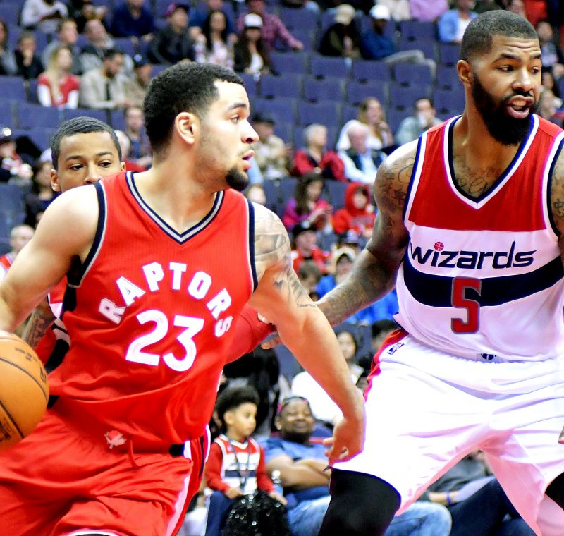 Toronto Raptors guard Fred VanVleet tries to get past Washington Wizards forward Markieff Morris during the Wizards' 119-82 home win in both teams' final preseason game on Friday, Oct. 21 at the Verizon Center in northwest D.C. /Photo by John E. De Freitas