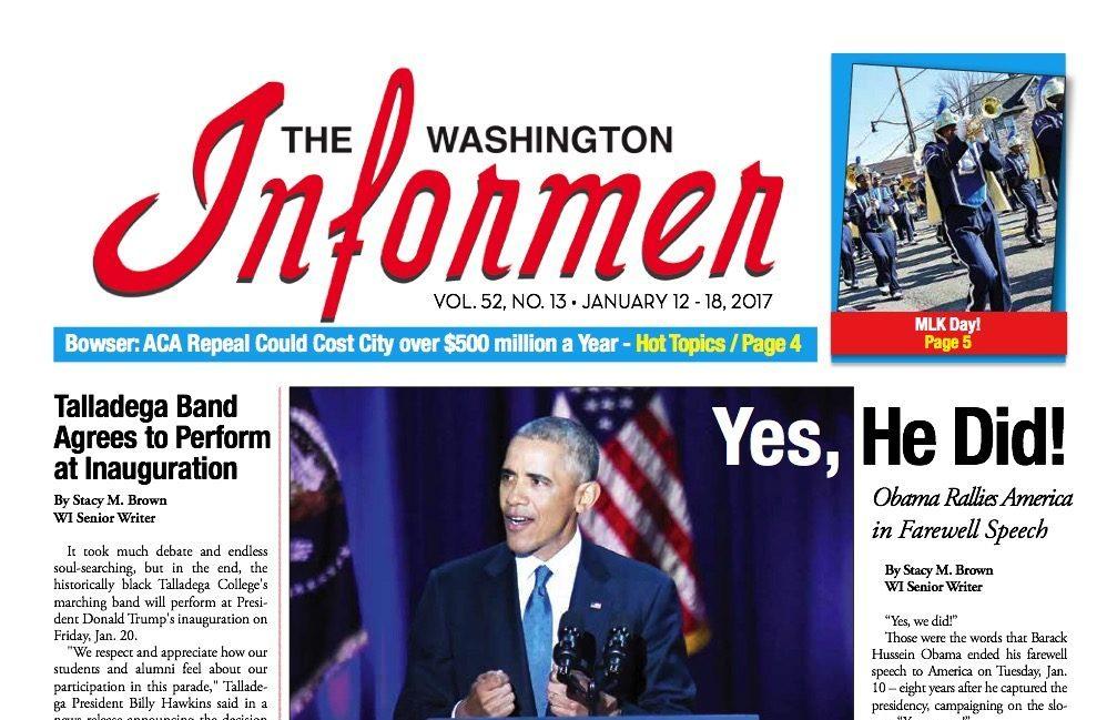 Photo of Washington Informer Issue, January 12, 2017