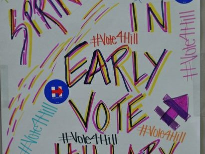 Hand made posters displayed inside the Hillary Clinton Campaign open house at 1227 Pennsylvania Avenue, SE on Wednesday, May 18th. /Photo by Patricia Little @5feet2