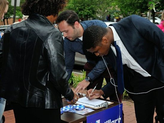 Ward 6 residentts attend the Hillary Clinton Campaign open house at 1227 Pennsylvania Avenue, SE on Wednesday, May 18th. /Photo by Patricia Little @5feet2