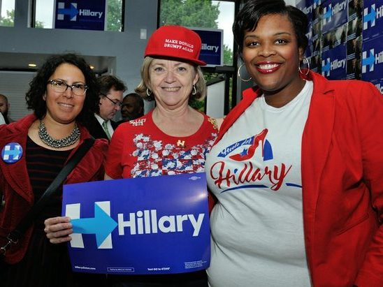 Waikinya Clanton (right), National Executive Director, National Organization of Black Elected Legislative Women, attend the Hillary Clinton Campaign open house at 1227 Pennsylvania Avenue, SE on Wednesday, May 18th. /Photo by Patricia Little @5feet2