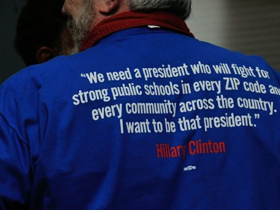 A Ward 6 resident wears a tee shirt in support of Hillary Clinton during a campaign open house at 1227 Pennsylvania Avenue, SE on Wednesday, May 18th. /Photo by Patricia Little @5feet2