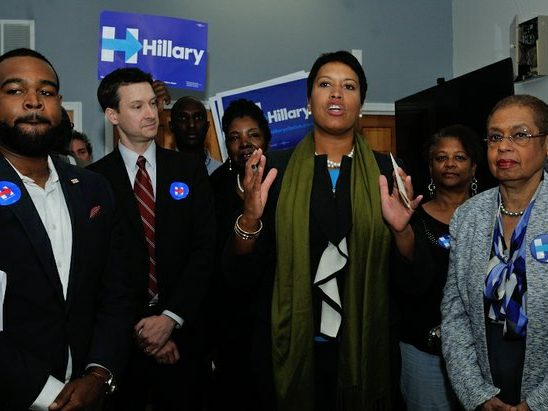 DC Mayor Muriel Bowser, Congresswoman Eleanor Holmes-Norton and Ward 6 Councilman Charles Allen attend the Hillary Clinton Campaign open house at 1227 Pennsylvania Avenue, SE on Wednesday, May 18th. /Photo by Patricia Little @5feet2