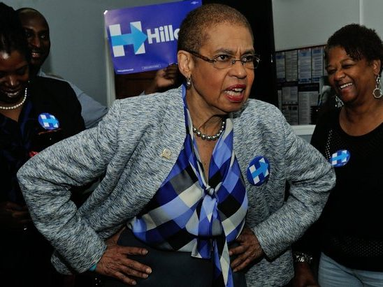 Congresswoman Eleanor Holmes-Norton delivers a rousing speech during the Hillary Clinton Campaign open house at 1227 Pennsylvania Avenue, SE on Wednesday, May 18th. /Photo by Patricia Little @5feet2