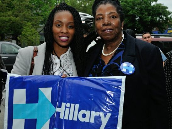 ANC-7D Commissioner Dorothy Douglas (right) and niece attend the Hillary Clinton Campaign open house at 1227 Pennsylvania Avenue, SE on Wednesday, May 18th. /Photo by Patricia Little @5feet2