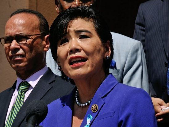 Congresswoman Judy Chu (CA-27th District) delivers remarks during a press conference on the steps of the Democratic National Headquarters on Wednesday, May 25 in southeast. /Photo by Patricia Little @5feet2