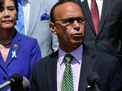 Congressman Luiz Gutierrez (D-IL) delivers remarks during a press conference on the steps of the Democratic National Headquarters on Wednesday, May 25 in southeast. /Photo by Patricia Little @5feet2