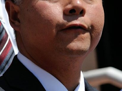 Congressman Ted Lieu (D-Los Angeles County) delivers remarks during a press conference on the steps of the Democratic National Headquarters on Wednesday, May 25 in southeast. /Photo by Patricia Little @5feet2
