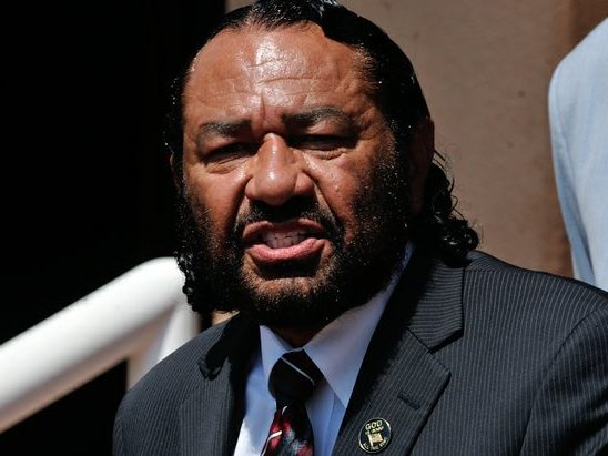 Congressman Al Green (D-TX) delivers remarks during a press conference on the steps of the Democratic National Headquarters on Wednesday, May 25 in southeast. /Photo by Patricia Little @5feet2