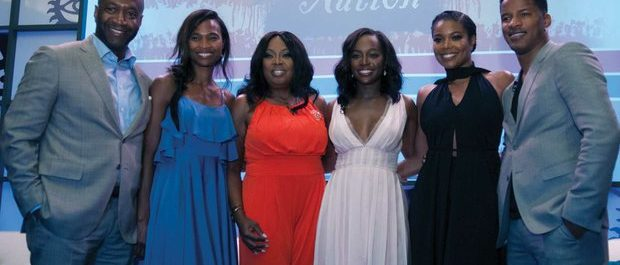 """(From left to right) Jeff Friday, Founder of the American Black Film Festival and wife Nicole; TV personality Star Jones; Actors Aja Naomi King, Gabrielle Union and Nate Parker. Jones led a panel discussion with the cast about the upcoming release of """"The Birth of a Nation,"""" film during the 20th Annual American Black Film Festival on Friday, June 17 in Miami, FL. /Photo by Patricia Little @5feet2"""