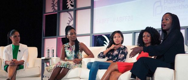 """(From left to right) TV Journalist Soledad O'Brien; Actresses Teyonnah Parris, Nicole Bahari, Emayatzy Coniealdi; and Actress Aja Naomi King. O'Brien led a panel discussion entitled """"Black Women in Hollywood: The Future Looks Bright"""" during the 20th Annual American Black Film Festival on Saturday, June 18 in Miami, FL. /Photo by Patricia Little @5feet2"""