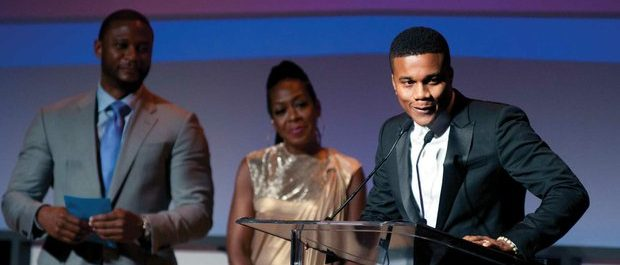 """Actor Cory Hardrict of the film """"Destined,"""" delivers remarks after receiving award for best actor during the Best of the Festival Awards Ceremony at the 20th Annual American Black Film Festival on Saturday, June 18 in Miami, FL. /Photo by Patricia Little @5feet2"""
