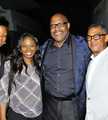 "Gospel vocalist Marvin Winans (2nd right) and guests attend post-show reception of the musical stage play ""Born for This: The BeBe Winans Story"" on Thursday, July 7 at the Arena Stage Kreeger Theater in Southwest. /Photo by Patricia Little"