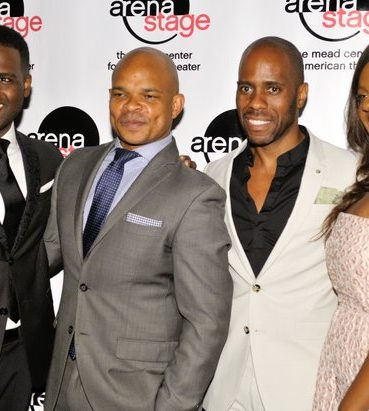 "(From left to right) Actor Juan Winans (Bebe Winans), Choreographers Warren Adams and Brian Harlan Brooks, and Actress Deborah Joy Winans (CeCe Winans), attend the post-show reception for the musical stage play ""Born for This: The BeBe Winans Story"" on Thursday, July 7 at the Arena Stage Kreeger Theater in Southwest. /Photo by Patricia Little"