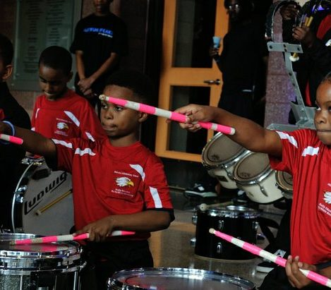Students from the Malcolm X Elementary School drum line provide entertainment during Autism Speaks Light It Up Blue event at the THEARC, Saturday, April 2, 2016 in Southeast. /Photo by Patricia Little @5feet2