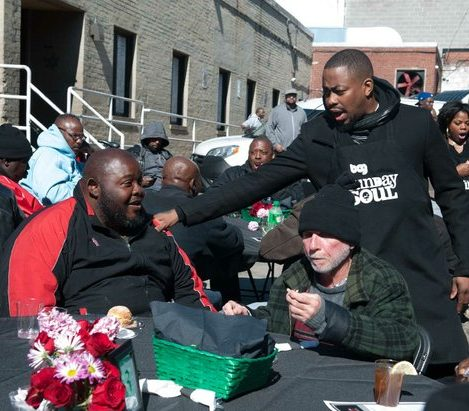 R&B artist and event co-sponsor Raheem DeVaughn, mingles with guests during the Sunday Soul DC Pop Up Event at the New York Avenue men's shelter, Sunday, April 3, 2016 in Northeast. /Photo by Patricia Little @5feet2