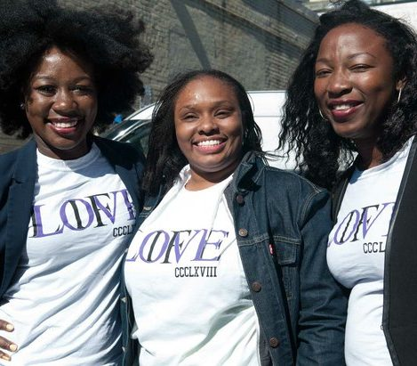 Ellen Osei (left), Alicia Pinkett (center), and Liz Osei (right) of the Raising Hope Foundation, serve as volunteers during the Sunday Soul DC Pop Up Event at the New York Avenue men's shelter, Sunday, April 3, 2016 in Northeast. /Photo by Patricia Little @5feet2