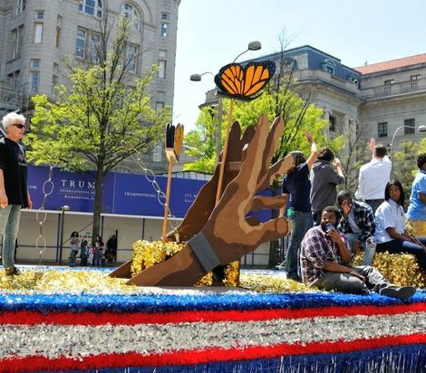 Phelps ACE High School displays handmade artwork in a float during the Emancipation Day Parade on Saturday, April 16, 2016 in Northwest. /Photo by Patricia Little @5feet2