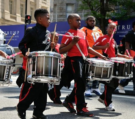 Students from the Malcolm X Elementary School drum line perform during the Emancipation Day Parade on Saturday, April 16, 2016 in Northwest. /Photo by Patricia Little @5feet2
