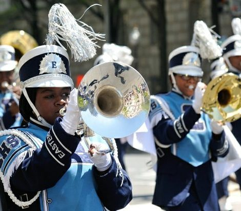 Students from the Eastern Senior High School marching band perform during the Emancipation Day Parade on Saturday, April 16, 2016 in Northwest. /Photo by Patricia Little @5feet2