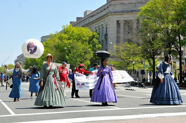 Civil War characters stroll down Pennsylvania Avenue during the Emancipation Day Parade on Saturday, April 16, 2016 in northwest. /Photo by Patricia Little @5feet2