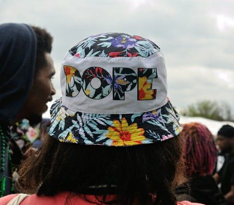 A patron wears a cannabis-themed hat to the National Cannabis Festival, Saturday, April 23, 2016 at RFK Stadium. /Photo by Patricia Little @5feet2
