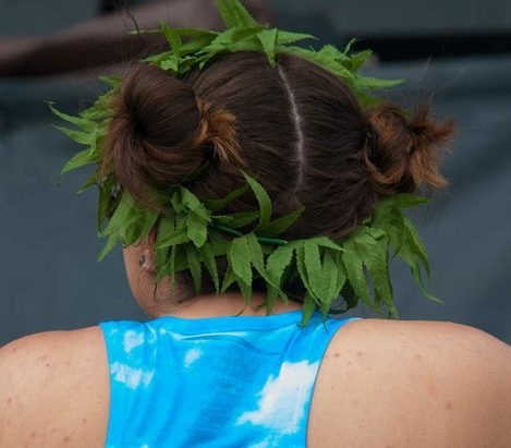 A patron wears a crown made of faux hemp leaves at the National Cannabis Festival, Saturday, April 23, 2016 at RFK Stadium. /Photo by Patricia Little @5feet2